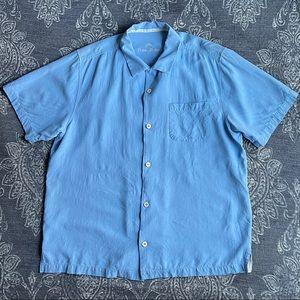 Tommy Bahama Weekend Tropics Blue Silk Shirt Large